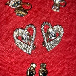 4 CZ & Rhinestone Clip on Earrings